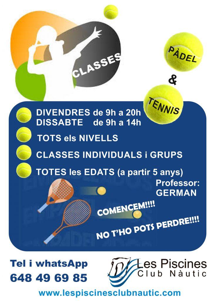 clases de padel, clases de tenis. Les Piscines Club Nàutic. Roda de Berà. Tarragona.